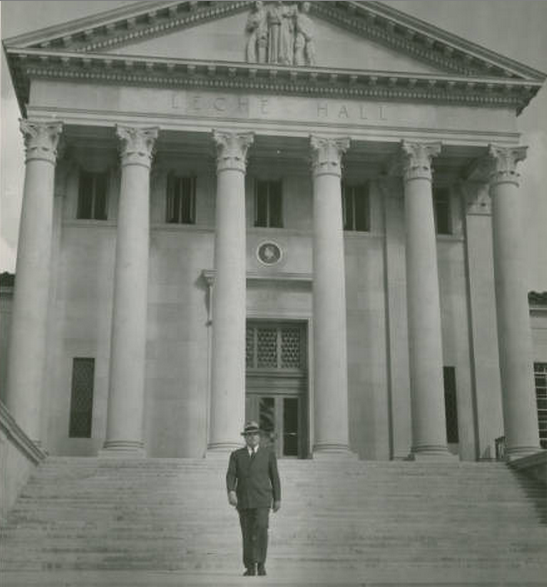 """Louisiana Gov. Richard Leche on the steps of LSU's Law School in the 1930s. Before Leche's federal conviction, the building was known as """"Leche Hall."""" (Photo courtesy Louisiana Research Collection, Tulane University)"""