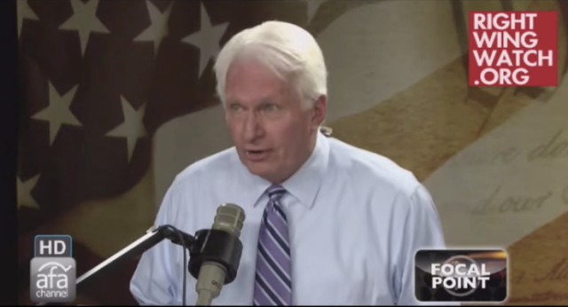 Screen shot of Bryan Fischer, radio show host for the American Family Association