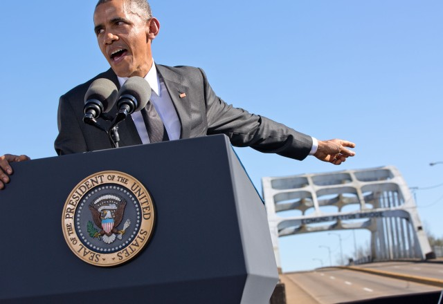 President Obama at the Edmund Pettus Bridge in Selma, Ala., on March 7, 2015. (Official White House Photo by Pete Souza)