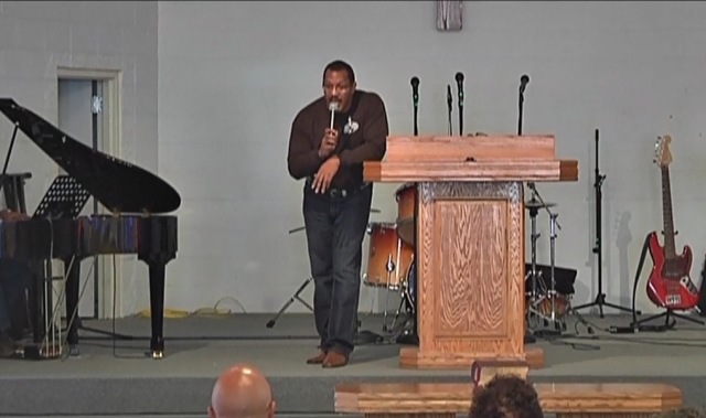Rev. Jerial Hardy, an inmate pastor, preaches to his Assembly of God congregation at the Louisiana State Penitentiary at Angola's  Main Prison on May 16, 2015. (Screenshot by permission of Louisiana State Penitentiary at Angola)